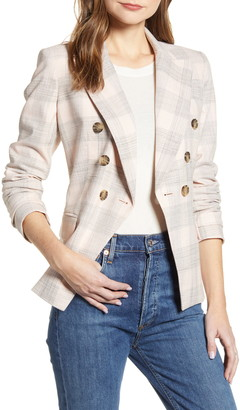 Tommy Hilfiger Slim Fit Plaid Cotton Double Breasted Blazer
