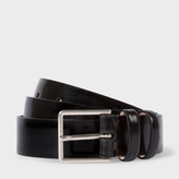 Paul Smith Men's Black High-Shine Leather Double Keeper Belt