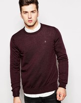 Farah Jumper In Merino Wool Crew Neck - Red