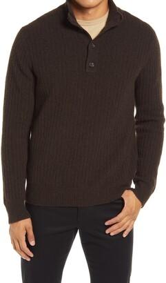 Vince Merino Wool Blend Mock Neck Henley Sweater