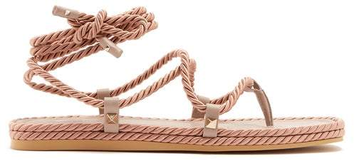 Valentino - Satin Rope Wraparound Sandals - Womens - Nude