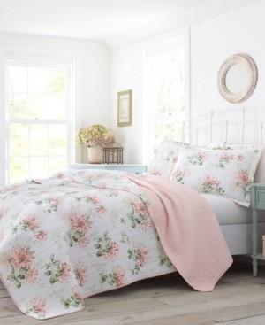 Laura Ashley Honeysuckle Blush Quilt Set, King Bedding