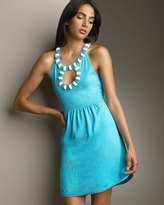 Milly Beaded Babydoll Dress, Pacific Blue