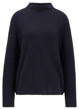 HUGO BOSS Relaxed Fit Sweater In Pure Cashmere With Funnel Neck - Light Blue
