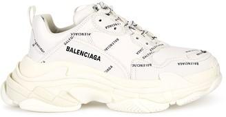 Balenciaga Triple S Allover Logo White Sneakers