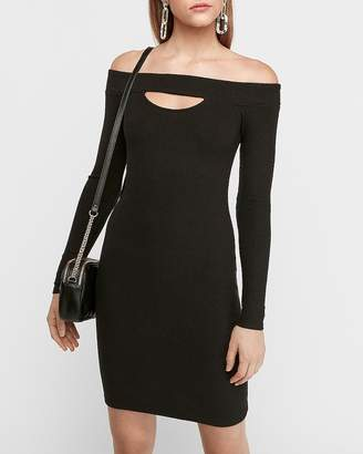 Express Cozy Off-The-Shoulder Cut-Out Sheath Dress