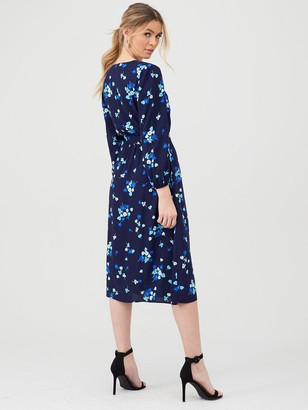 Very Button Front Print Midi Dress - Blue Floral
