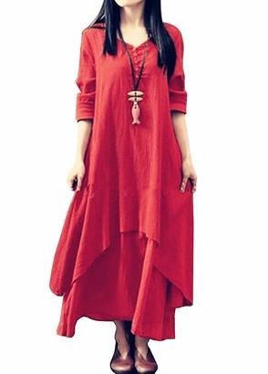 ilovgirl Women's Long Sleeve Boho Cotton Linen Solid Color Casual Holiday Maxi Dress (5XL=UK24