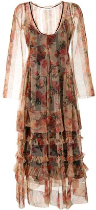 Molly Goddard Tiered Floral Print Tulle Dress