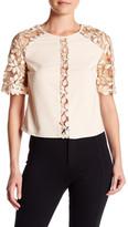 Gracia Leaf Lace Paneled Short Sleeve Blouse