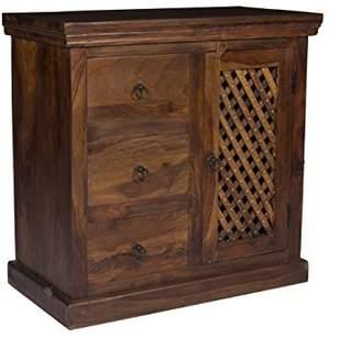 URBAN RESEARCH Stylla London Unique Designer Furniture Handmade Solid Sheesham Wood Jali Work Sideboard Cabinet Drawers Chest | 3 Drawers & 1 | Rustic Design |Dressing Table | Black Friday Sale