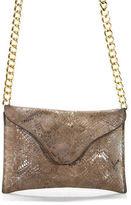 JJ Winters Brown Metallic Snakeskin Print Suede Chain Strap Crossbody Handbag