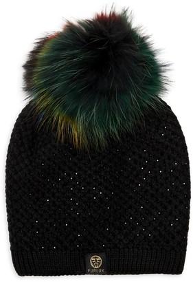 Furlux Fox Fur Pom-Pom Beanie