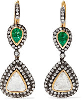 Amrapali 18-karat Gold, Silver, Diamond And Emerald Earrings