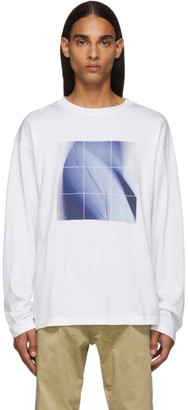 Fumito Ganryu White and Blue Graphic Long Sleeve T-Shirt