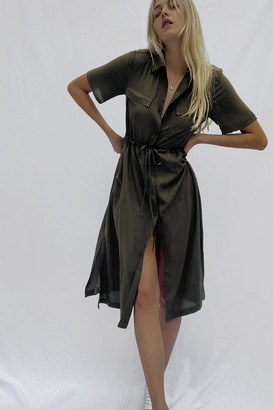 French Connection Solid Crepe Shirt Dress
