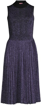 Kate Spade Metallic Pleated Knit Fit-&-Flare Dress