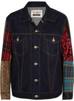 Junya Watanabe Faux Leather, Faux Fur, Cotton-blend, Wool-blend And Denim Jacket - Blue