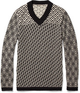 Bottega Veneta Patterned Knitted Cotton V-Neck Sweater