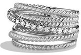 David Yurman Crossover Wide Ring with Diamonds, Size 6