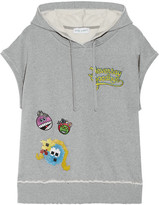 Mira Mikati Never Grow Up Embellished Appliquéd Cotton-jersey Hooded Top - Gray