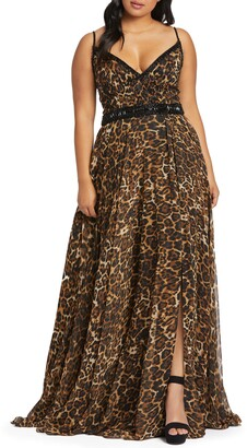 Mac Duggal Cheetah Print Chiffon Prom Dress
