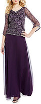 J Kara Sequin Cowl Neck Long Gown