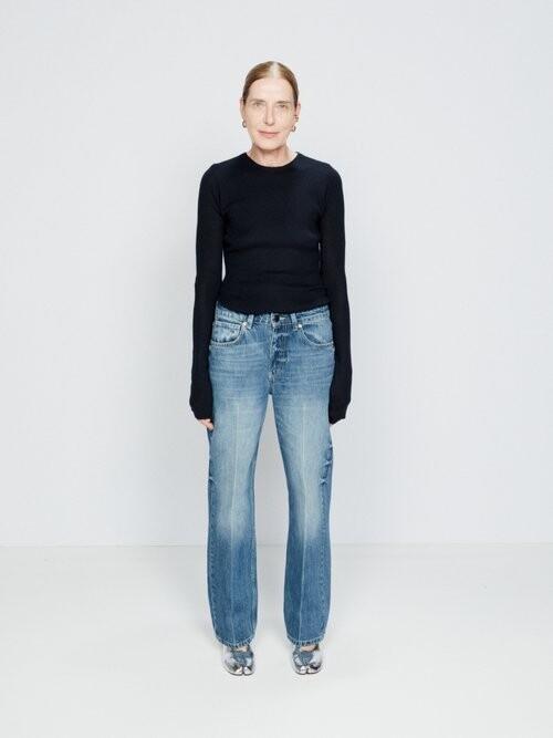 Raey Crew Neck Fine Rib Cashmere Sweater - Womens - Navy