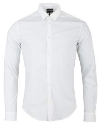 Giorgio Armani Slim Cotton Poplin Long Sleeved Shirt Colour: WHITE, Size: SMAL