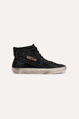 Golden Goose Slide Distressed Leather-trimmed Suede High-top Sneakers - Black