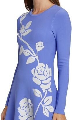 Lela Rose Jacquard Knit Floral Dress
