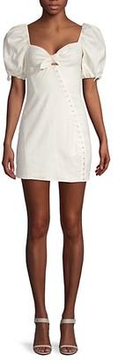 For Love & Lemons Macaroon Puff-Sleeve Mini Dress