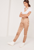 Missguided Satin Cuffed Joggers Rose Gold