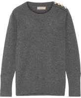 Burberry Button-detailed Cashmere Sweater - Gray
