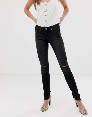 One Teaspoon Hoodlum slit knee skinny jeans-Black