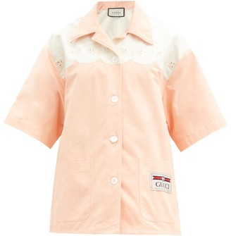 Gucci Scalloped Cotton-poplin Shirt - Light Pink