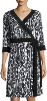 Melissa Masse Ikat-Print 3/4-Sleeve Wrap Dress, Black/White