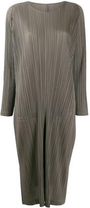 Pleats Please Issey Miyake Pleated Long-Sleeve Dress