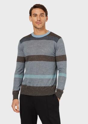 Giorgio Armani Striped Crew-Neck Sweater In Wool And Silk