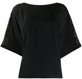 Boutique Moschino Floral Embroidered Floaty Style Blouse
