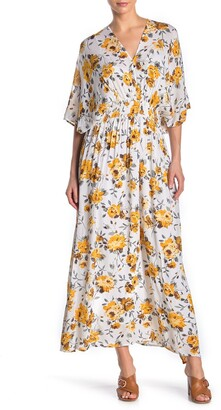 Nina Leonard Printed V-Neck Draped Maxi Dress