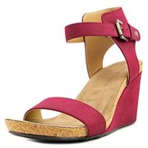 Adrienne Vittadini Ted Open Toe Suede Wedge Sandal.