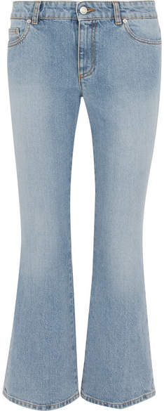 Alexander McQueen Cropped Mid-rise Flared Jeans - Light denim
