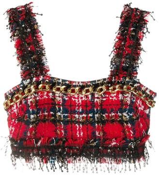 Balmain Tartan-Pattern Tweed Sleeveless Top