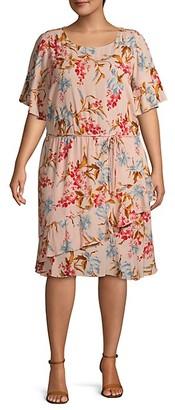 Vince Camuto Plus Floral-Print Shift Dress