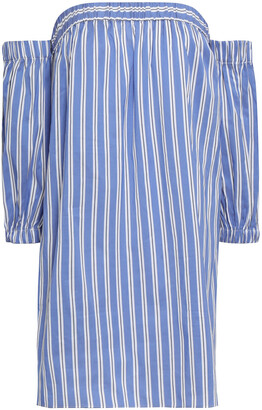 Milly Off-the-shoulder Striped Cotton And Silk-blend Poplin Mini Dress