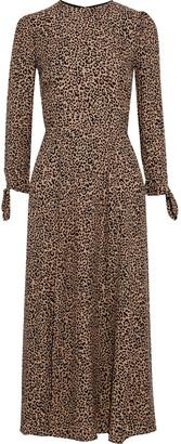 Reformation Zelda Tie-detailed Leopard-print Crepe Midi Dress