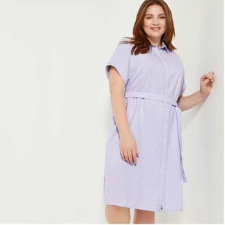 Joe Fresh Women+ Short Sleeve Shirt Dress, Light Blue (Size 1X)