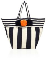 JADEtribe Valerie Striped Beach Pom-Pom Tote