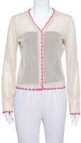 Thumbnail for your product : Dolce & Gabbana Vintage Beige Knit Contrast Trim Crochet Button Front Cardigan L